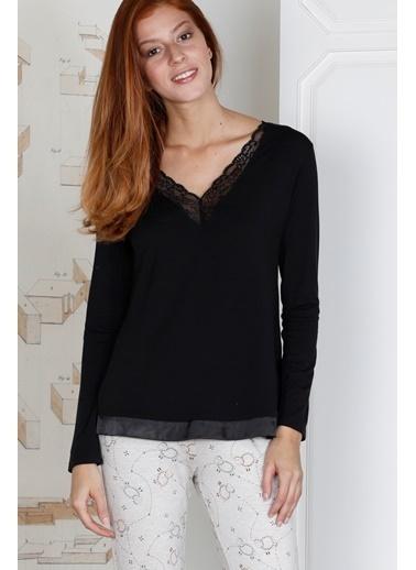 Hays Kadın Dantelli Baskılı Pijama Takımı Siyah